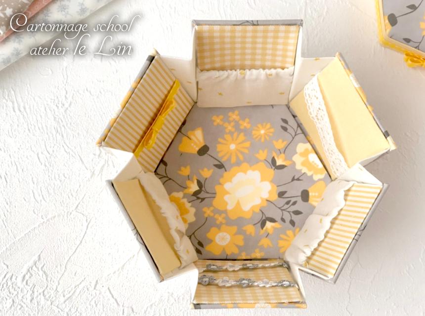 カルトナージュ作品 お裁縫箱 六角形