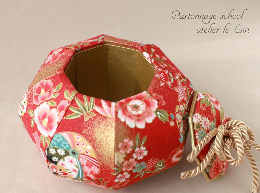 カルトナージュ作品 壺型 8角形 和柄 お正月